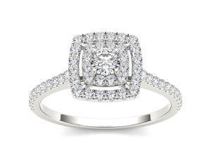 14k White Gold 1/2ct TDW Double Halo Diamond Engagement Ring (H-I, I2)