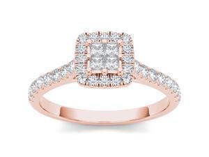 10k Rose Gold 1/2ct TDW Diamond Single Halo Engagement Ring (H-I, I2)