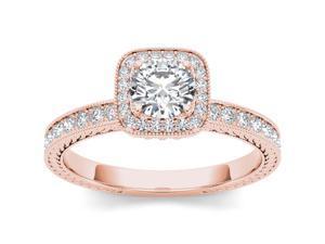 14k Rose Gold 1ct TDW Diamond Single Halo Engagement Ring (H-I, I2)