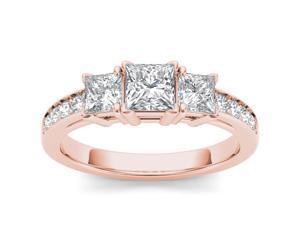 14k Rose Gold 2ct TDW Diamond Three Stone Princess Cut Engagement Ring (H-I, I2)