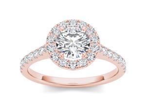 14k Rose Gold 1 1/4ct TDW Diamond Single Frame Solitaire Engagement Ring (H-I, I2)