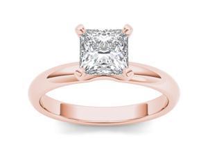 14k Rose Gold 1ct TDW Diamond Princess Cut Solitaire Engagement Ring (H-I, I2)