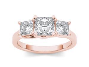 14k Rose Gold 2ct TDW Diamond Three Stone Engagement Ring (H-I, I2)
