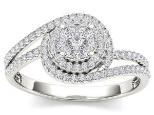De Couer 10k White Gold 1/3ct TDW Diamond Composite Engagement Ring (H-I, I2)