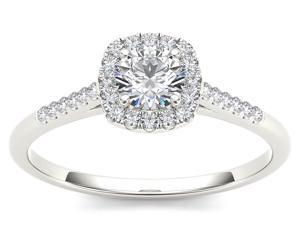 De Couer 10k White Gold 1/2ct TDW Diamond Solitaire Engagement Ring (H-I, I2)