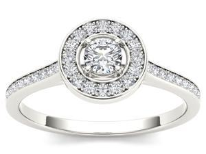 De Couer 10k White Gold 1/3ct TDW Diamond Solitaire Engagement Ring (H-I, I2)