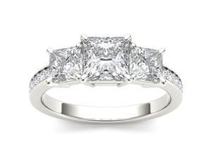 De Couer 14k White Gold 2ct TDW Diamond Three Stone Princess-cut Engagement Ring (H-I, I2)