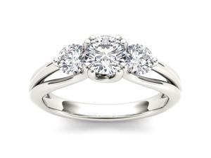 De Couer 14k White Gold 1ct TDW Diamond Three Stone Engagement Ring (H-I, I2)