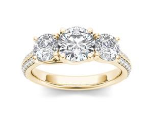 De Couer 14k Yellow Gold 2 1/4ct TDW Three Stone Diamond Solitaire Engagement Ring (H-I, I2)