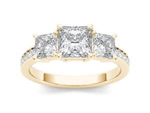 De Couer 14k Yellow Gold 2ct TDW Diamond Three Stone Princess-cut Engagement Ring (H-I, I2)