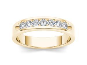 De Couer 14k Yellow Gold 1/2ct TDW Diamond Metal Band Ring (H-I, I2)