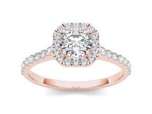 De Couer 14k Rose Gold 7/8ct TDW Diamond Solitaire Engagement Ring (H-I, I2)