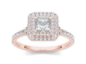 De Couer 14k Rose Gold 1 #47;3ct TDW Diamond Princess Cut Solitaire Engagement Ring  #40;H-I, I2 #41
