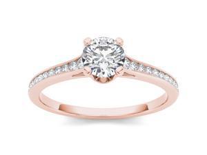De Couer 14k Rose Gold 3/4ct TDW Diamond Single Frame Solitaire Engagement Ring (H-I, I2)