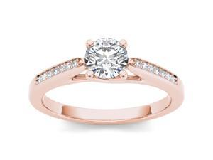 De Couer 14k Rose Gold 3/4ct TDW Diamond Solitaire Engagement Ring (H-I, I2)