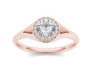 De Couer 14k Rose Gold 1ct TDW Diamond Solitaire Engagement Ring (H-I, I2)