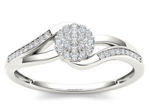 De Couer 10k White Gold 1/8ct TDW Diamond Cluster Ring (H-I, I2)