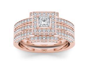 De Couer 14k Rose Gold 1 1/2ct TDW Diamond Halo Engagement Ring Set (H-I, I2)