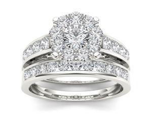 De Couer 10k White Gold 1 1/2ct TDW Diamond Cluster Bridal Ring Set (H-I, I2)