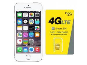 iPhone 5s AT&T with H2O SIM card(1GB Data Included) Silver 32GB