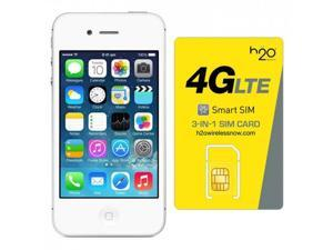 Apple iPhone 4s GSM Unlocked with H2O SIM card(1GB Data Included) White 16GB