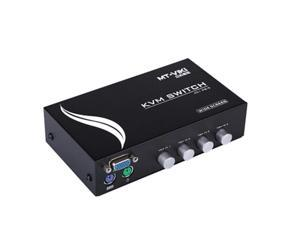 4 Port KVM Switch Connector for PS/2 Devices Video Mouse Keyboard Monitor