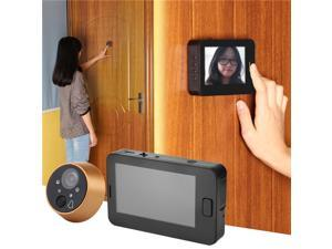 4.3 Inches TFT LCD Screen 4 Night Vision LEDs 170 Degree Wide Angle Digital Doorbell Peephole Door Camera - Black