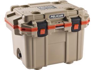 Pelican 30q-2-Tanorg 30-Quart Elite Cooler (tan With Orange Trim)  20.00in. x 28.00in. x 24.00in.
