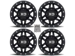 "KMC XS128 Machete Beadlock ATV Wheels/Rims Black 14"" Sportsman 550 850 1000"
