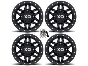 "KMC XS128 Machete Beadlock ATV Wheels/Rims (+35mm) Black 14"" Honda Pioneer"