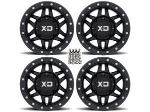 "KMC XS128 Machete Beadlock ATV Wheels (+35mm) Black 14"" Honda Rincon Yamaha Rhino Kawasaki Brute Force Suzuki KingQuad"