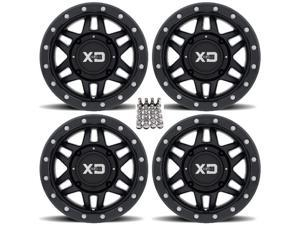 "KMC XS128 Machete Beadlock ATV Wheels/Rims (+35mm) Black 14"" Can-Am Commander Maverick Renegade Outlander Defender"