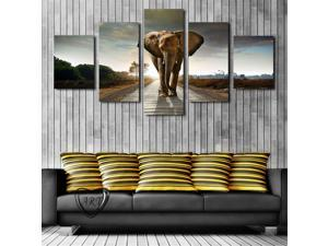 Framed 5 Pcs Elephant Painting Canvas Wall Art Picture Home Decoration Living Room Canvas Print Modern Painting-Large Canvas