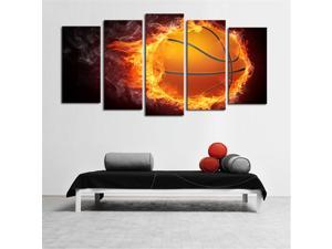 Framed 5 Pcs Flame Basketball Picture Print Painting Modern Canvas Wall Art for Wall Decor Home Decoration Artwork