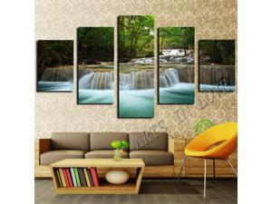 Framed 5 Pcs Waterfall Painting Canvas Wall Art Picture Home Decoration Living Room Canvas Print Painting--Large Canvas Art
