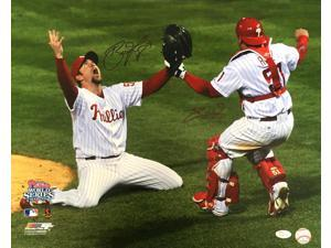 Brad Lidge Carlos Ruiz Signed 16x20 Phillies 2008 World Series Photo JSA