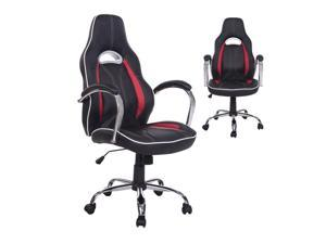 HOMCOM High Back Executive Racing Office Chair PU Leather Swivel Computer Desk Seat Black and Red
