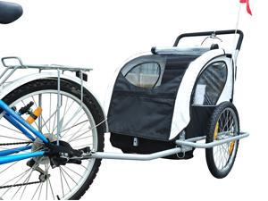Aosom 2IN1 Double Baby Bike Bicycle Trailer and Stroller, Black/White