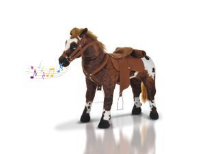 Qaba Children Cowboy Standing Plush Horse Soft Ride On Toy Cuddly Pony w/ Neighing Sound, Brown