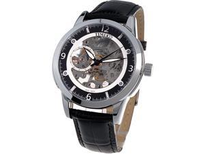 Time100 Men's Precise Skeleton Black Dial Leather Strap Automatic Mechanical Watch #W60005G.03A