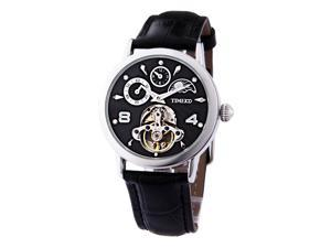 TIME100 Sun Phase Multifunction Skeleton Automatic Black Dial Mechanical Watch #W60011M.02A