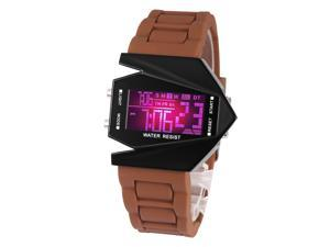 Time100 Fashion Plane Shapped Multicolor LED Dial Coffee Silicone Strap Electronic Digital Watch #W30023M.03A