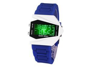 Time100 Fashion Plane shapped Multicolor LED Dial Blue Silicone Strap Electronic Digital Watch #W30023M.04A