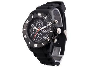 TIME100 Fashion Multifunction Environmental Silicone Black Strap Sport Watch #W70048G.01A