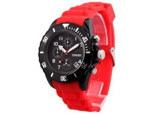 TIME100 Fashion Multifunction Environmental Silicone Red Strap Sport Watch #W70048G.04A