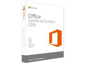 Microsoft Office Home and Student 2016 Win French US/Canada Only Medialess
