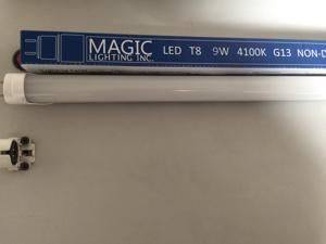 Magic Lighting Inc T8 LED Light Tube 2ft 800 Lumen 4100K Bright White UL Listed pack of 25
