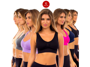 6 Pack Comfy Padded Sports Bra