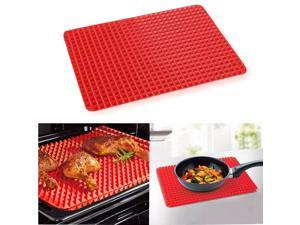 Red Healthy Chef Baking Mat - Raised Pyramid Baking Sheet - Non Stick Silicone Mat