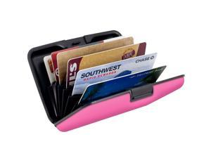 Small RFID Blocking Wallet - Anti-Theft Credit Card Case & Cash Holder (Pink)